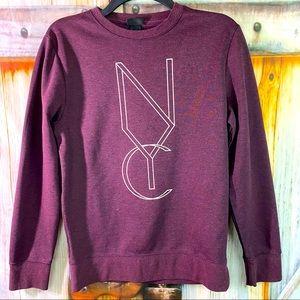 VGUC H&M Pull Over Graphic Print NYC Sweatshirt Burgundy XS